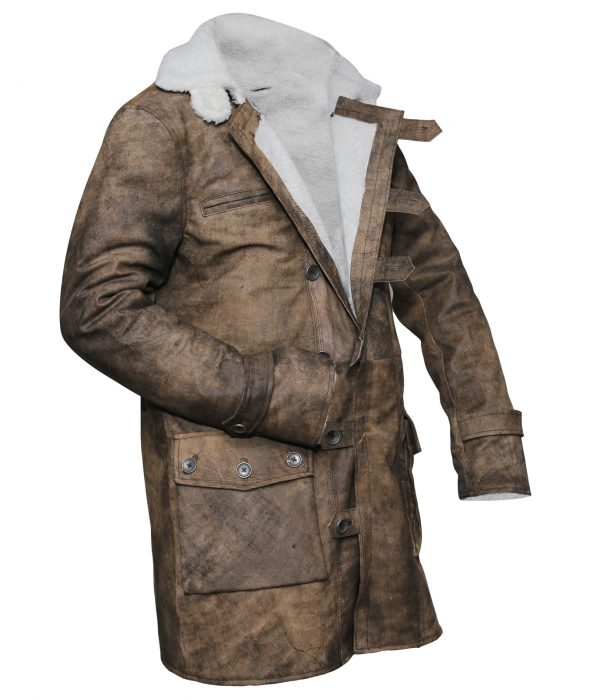 Tom Hardy The Dark Knight Bane Coat Leather Shearling Jacket