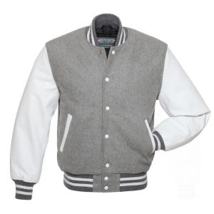 Grey And White Varsity Jacket