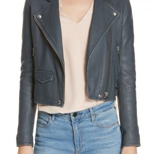 IRO Ashville Leather Jacket For Womens Biker 2019 Blue moto sale