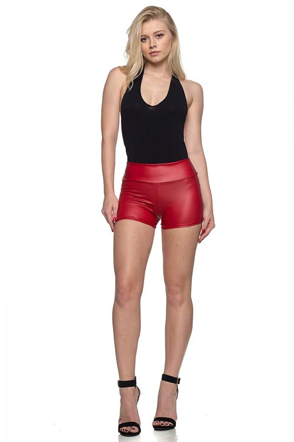 high waisted red leather shorts