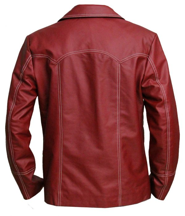 Tyler Durden Red Leather Jacket