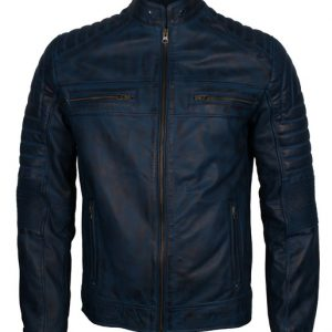 Cafe Racer Blue Leather Biker Jacket Mens