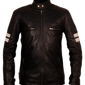 Black Leather Jacket With White Stripes
