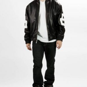 8 ball jacket micahel hoban black and white leather for sale