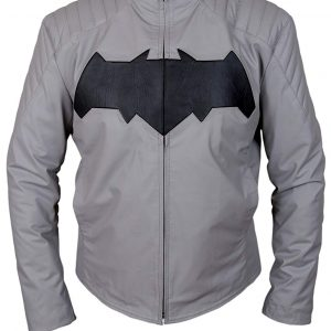 dawn of justice jacket leather batman grey