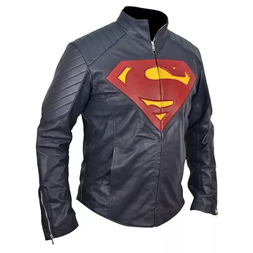 superman leather biker jacket