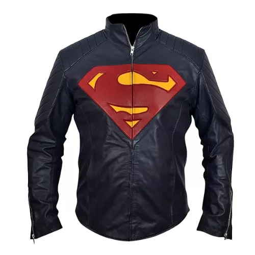 superman leather motorcycle jacket