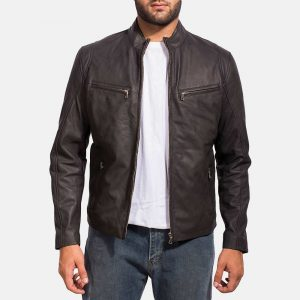 iconic black real leather jacket stylish biker