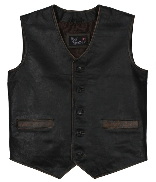 motorcycle leather vest black