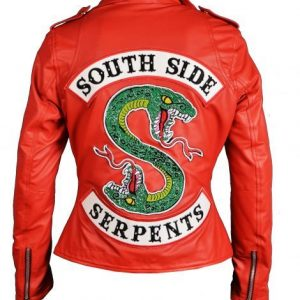 womens red cheryl blossom serpents jacket southside leather