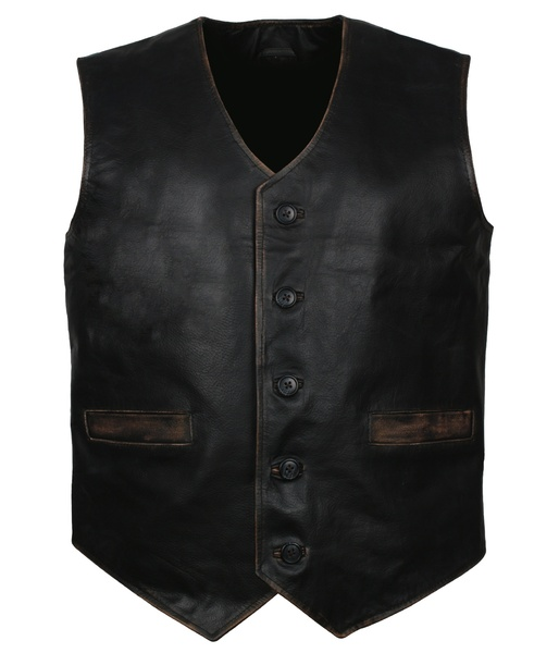 skull leather vest motorcycle black