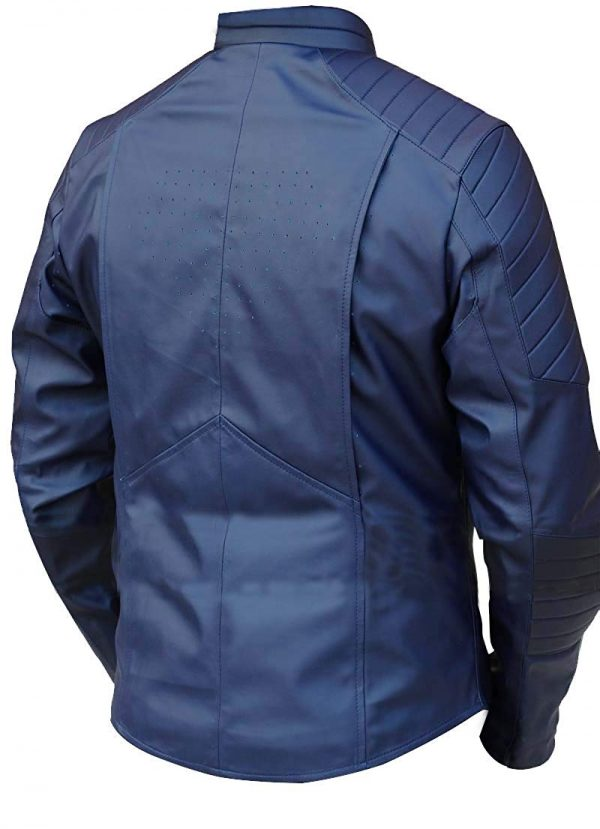 blue superman leather jacket for adults