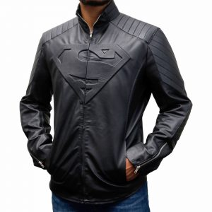 superman man of steel leather jacket black