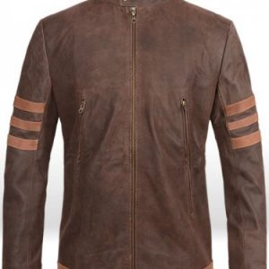 wolverine origins leather jacket brown x men motorcycle