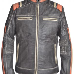 Vintage Cafe Racer Leather Jacket