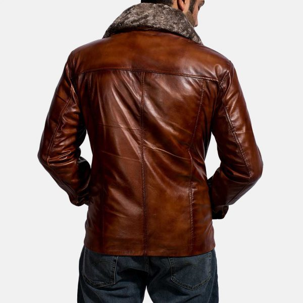 mens chocolate brown leather jacket with fur