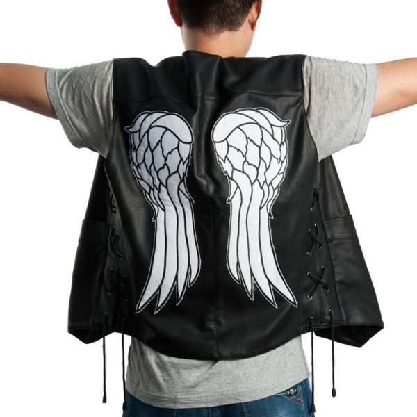 daryl dixon vest leather the walkind dead governor angel wings