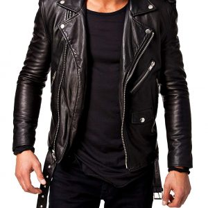 Mens Slim Fit Black Leather Jacket