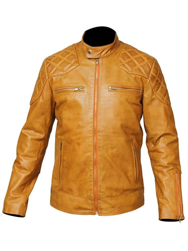 mens tan leather motorcycle jacket