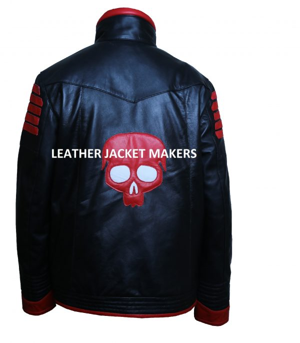 mens red skull halloween leather jacket