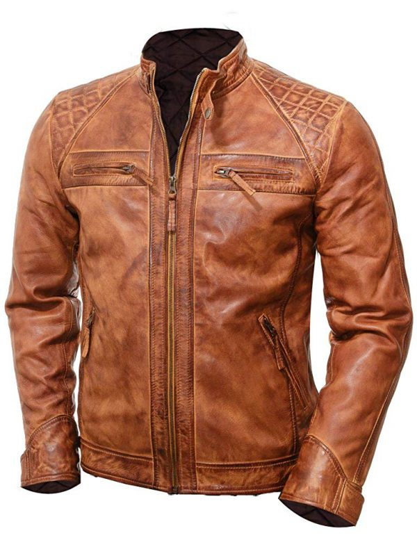 brown cafe racer leather jacket