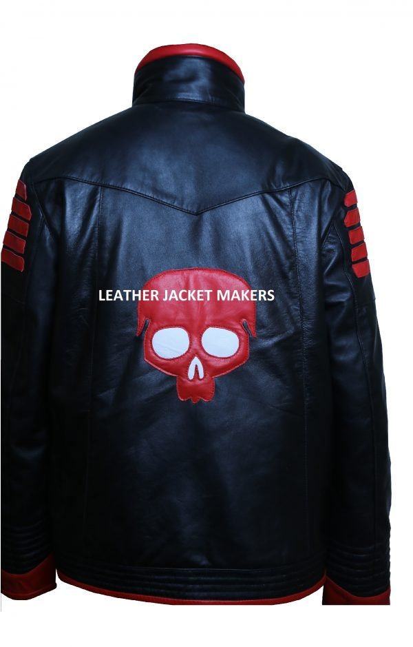 skull leather jacket red