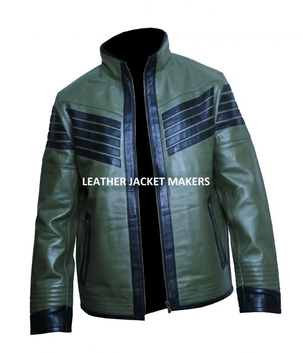 green motorcycle leather jacket