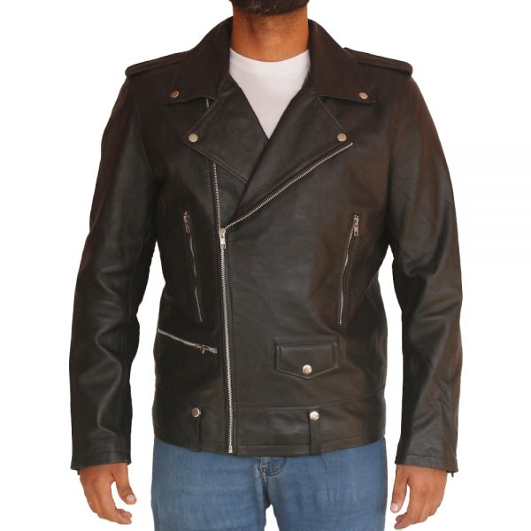 Men's Asymmetrical Style Biker Leather Jacket