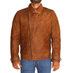 Men's Brown Wax Leather Jacket