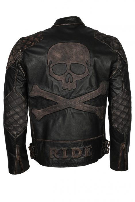 Skull Leather Jacket (Mens Motorcycle Punisher Leather Jacket)
