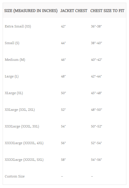 leather jacket size chart