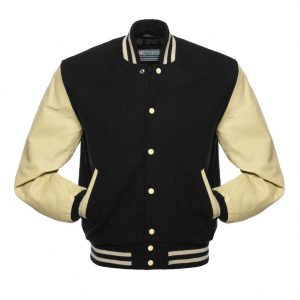 wool varsity jacket with leather sleeves