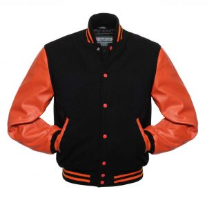 Varsity Orange And Black Letterman Jacket