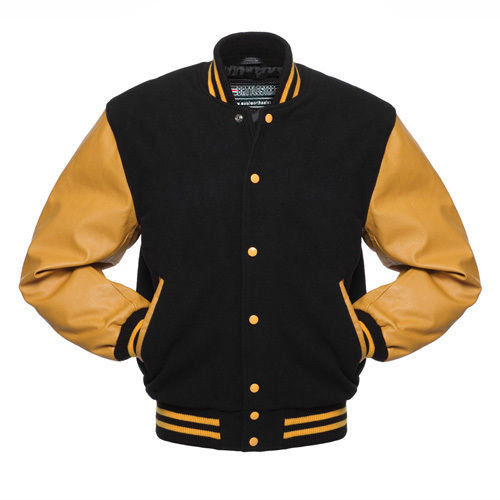 Varsity Black And Gold Letterman Jacket