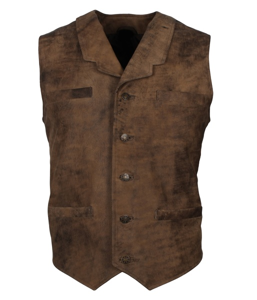 distressed brown leather vest motorcycle