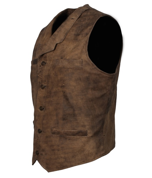 distressed brown leather motorcycle vest