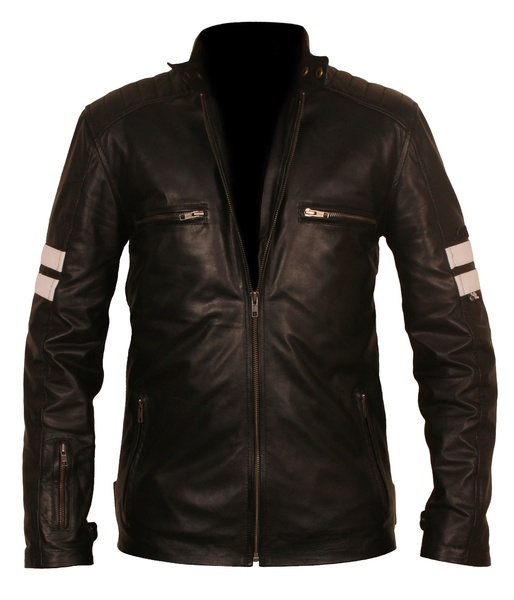 striped leather jacket mens
