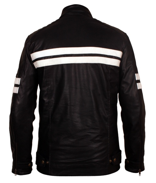 black leather motorcycle jacket with white stripes