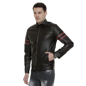 Black Leather Jacket With Red Stripes