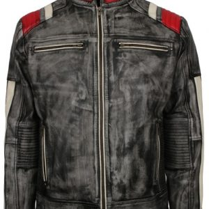 distressed black leather motorcycle jacket