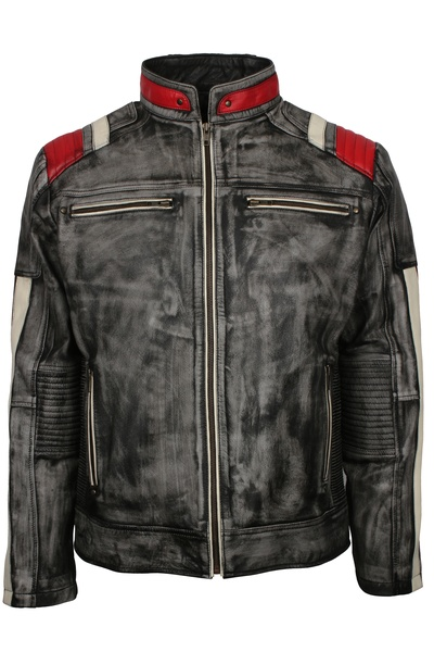 Distressed Black Leather Motorcycle Jacket For Mens Buy Now