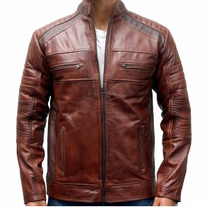 Mens Brown Leather Cafe Racer Jacket