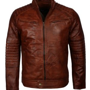 Brown Leather Cafe Racer Jacket