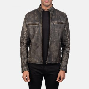 distressed brown leather jacket mens motorcycle