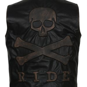 badass mens skull vest leather embossed motorcycle harley davidson