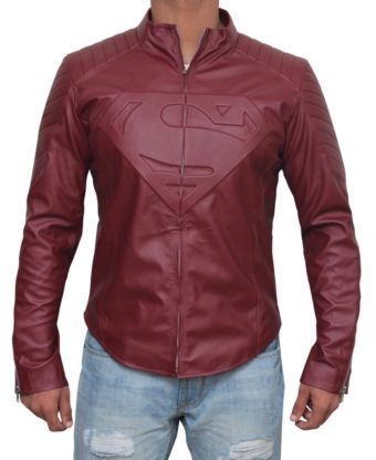 superman smallville jacket red leather