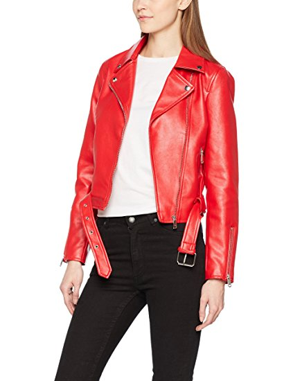 418eb752be9c Womens Red Faux Leather Biker Jacket | Buy Now For $119.99!