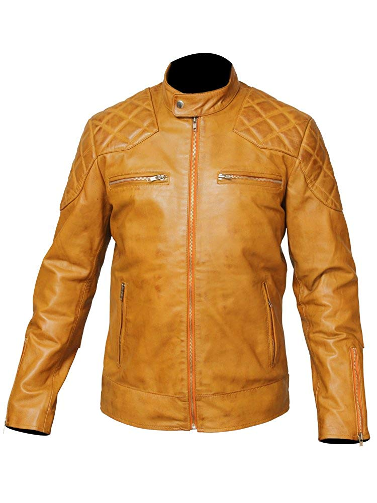 Mens Tan Leather Motorcycle Jacket For Bikers Leather Jacket Makers
