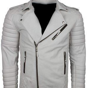 mens white boda biker leather jacket