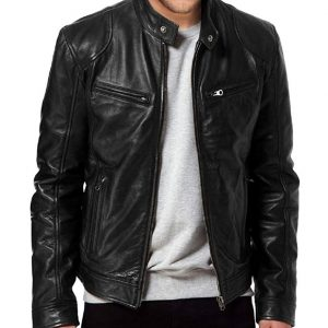 mens sword leather jacket black biker lambskin